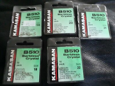 kamasan B510 crystal barbless hooks minimum order 3 packs