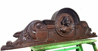 Hand Carved Wood Pediment Antique French Gothic Britany Figure Salvage Panelling