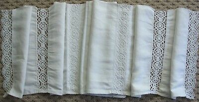 """ANTIQUE FRENCH LINEN & BOBBIN LACE BED BOLSTER PILLOW 88"""" long"""