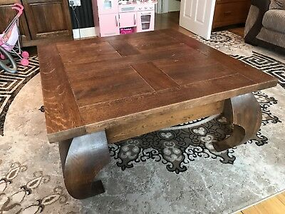 Vintage Stile Heavy Solid Oak Wood Large Coffee Table 100x100cm Very Good  Cond!
