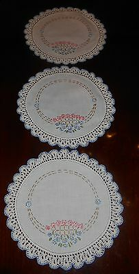 """3 Vintage Hand Embroidered & Crocheted lace Linen Doilies FLORAL BASKET 9.5"""""""