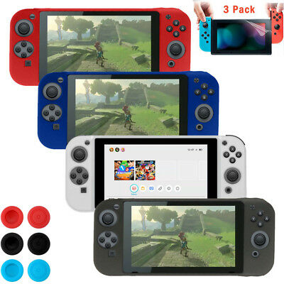 For Nintendo Switch Silicone Case Full Cover + Stick Caps+3 Screen Protector