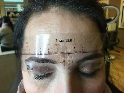 Phibrows Microblading PMU Ruler Stencil Stick On Sticker X 10 Mature Shapes