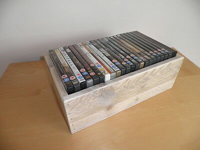 Handmade Wooden DVD Storage Box / Made From Reclaimed Wood / Unpainted