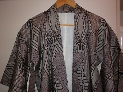 Vintage Japanese Classic Black And Grey Kimono Great Condition
