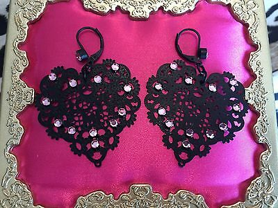 Betsey Johnson Vintage LOVE ME Black Lace Heart Cut Out Pink Crystal Earrings