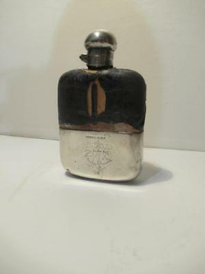 Antique Sterling Silver, Leather & Glass Flask by G&JW Hawksley 1896 Sheffield