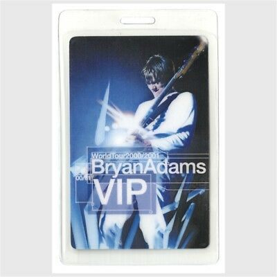 Bryan Adams memorabilia 2000-2001 concert tour Laminated Backstage Pass VIP