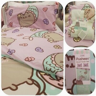 Pusheen the Cat Mermaid Purrmaid  Duvet Cover Set Single Dbl King or Throw BNWT
