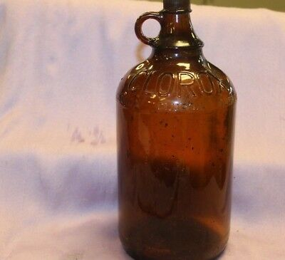 VINTAGE ~ 1/2 Gallon Brown Clorox Smooth Glass Jug Loop Handle & Original Lid
