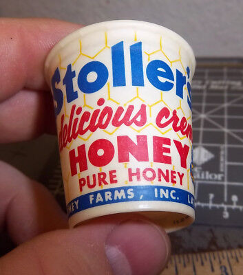 Vintage 1950s Stoller's Honey sample cup, 1 3/4 inch tall, great graphics of bee
