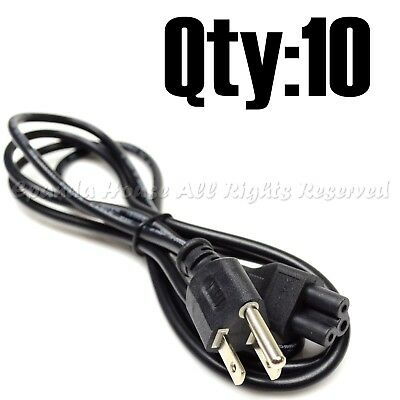 10Pc Super Combo 6Ft Computer Electronics Ac Power Supply Cord Wire 3-Prong Usa