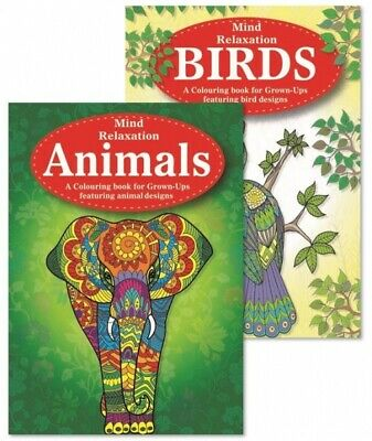 2 x MIND RELAXING COLOURING BOOK SET Adult Stress Relief Therapy Animal & Bird