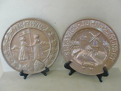 Arts and Crafts Era Hammered Copper~Reunification of Slesvigs Denmark~Rare Pair