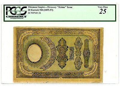 Turkey/Ottoman … P-26 … 20 Kurush … ND(1855-57) …*VF*  PCGS 25.(VF).