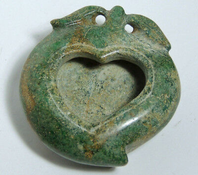Antique Jade / Hardstone Chinese Brush Washer - Peach with Heart Shape to Center