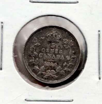 1914 Canada 5 Cents,  An almost uncirculated silver coin. Never cleaned, toned