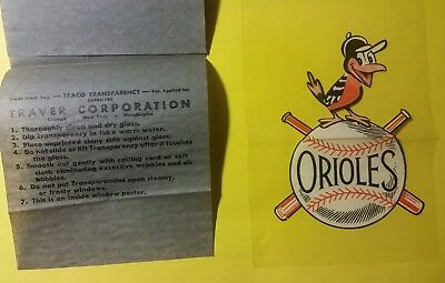 Baltimore Orioles 1950s 1960s vintage window decal - Traco Transparency sticker