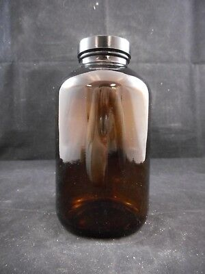 Laboratory Glass 950mL / 32oz Amber Glass Wide Mouth Bottle & Cap