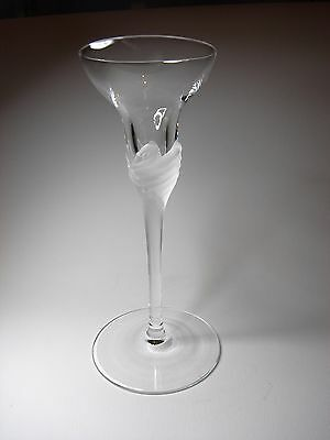 Long Stem Lead Crystal Candle Holder with Frosted Swans on the Stem, 18 cm High