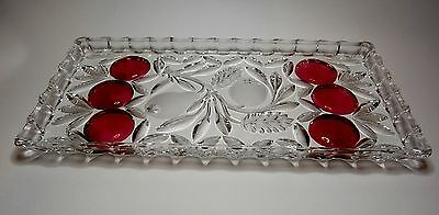 Vintage Rectangular Lead Crystal Heavy Tray with Plums and Frosted Pears Decor.
