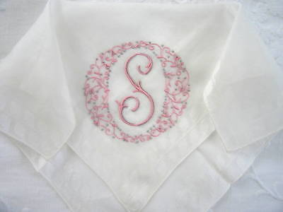 Exquisite Vintage Madeira Hanky Handkerchief Monogram S UNUSED