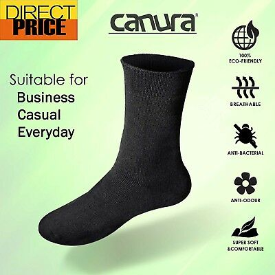 6 Pairs Bamboo Socks Everyday Casual Business Premium Sock Unisex Black NavyGrey
