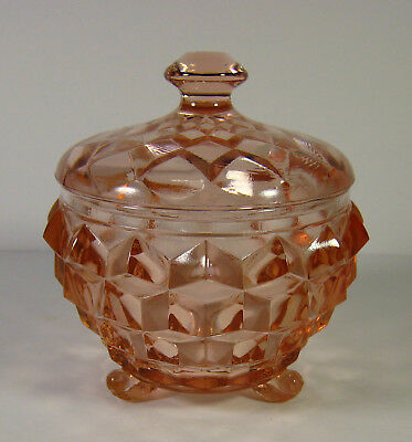 Vintage Jeannette Glass Co Cube/Cubist Pink 3-toed Powder Jar w/Lid