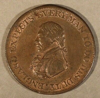 1812 Great Britain Nelson Naval Half Penny Token Nice    **FREE U.S SHIPPING**