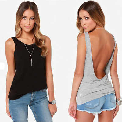 Sexy Women Loose Casual Backless T-Shirt Cotton Sleeveless Vest Tank Tops Blouse