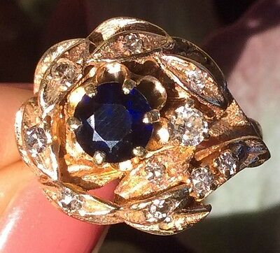 Vintage Estate Sapphire & Diamond 14k solid gold Cluster ring 6.25 Stunning