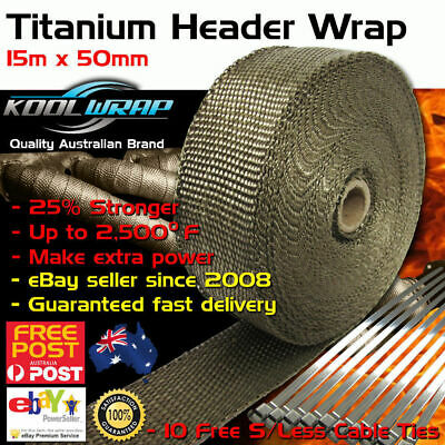 TITANIUM HEADER EXHAUST WRAP TAPE 2000F Heat Protection 15m X 50mm + S/Less Ties
