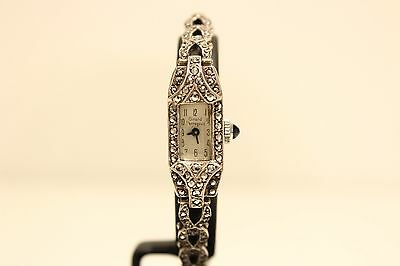 "Art Deco Unique Rare Small Solid Silver Ladies Swiss Watch ""Girard Perregaux"""