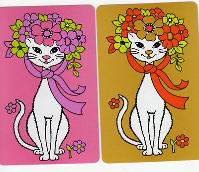 Vintage Swap / Playing Cards - 2 SINGLE- Great RETRO STYLE CATS