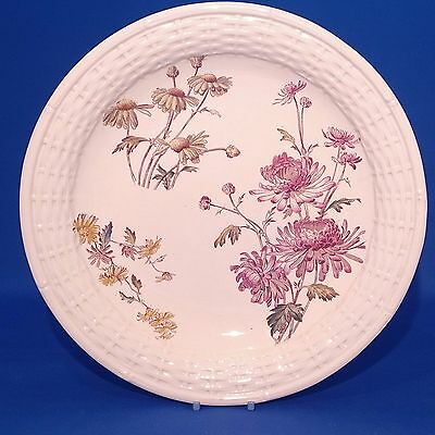 Antique c1885 George Jones CHRYSANTHEMUM Faience FRUIT BOWL / SERVING DISH 11½""