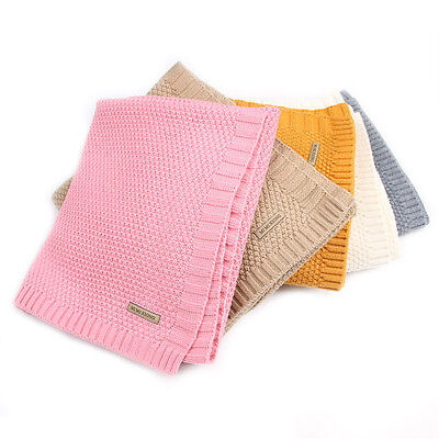 7 Colors 100% Organic Cotton Knitted Baby Blanket Warm Cover for Boys Girls Kids