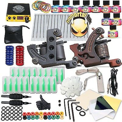 Complete Tattoo Kit 2 Machine Gun 10 Color Inks Power Supply w/ 10 Popular Color