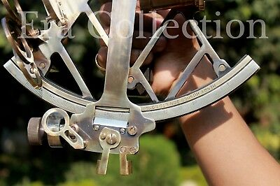 9 Inches Solid Brass Sextant Antique Maritime Nautical Astrolabe Ship Instrument