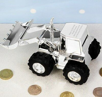 Personalised Money Box. Engraved Digger Coin Bank. Baby Boys Gift. Silver Plated