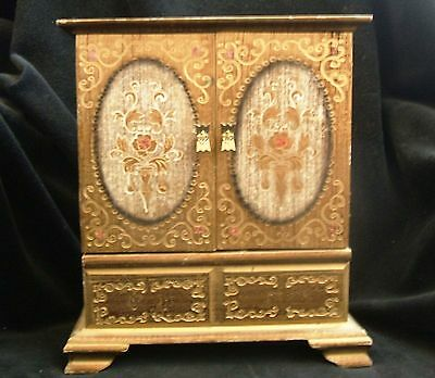 Vintage Florentine Wood Royal Sealy Toleware 5 Drawer Jewelry Box Armoire