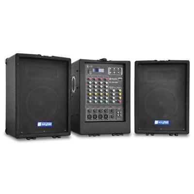 Systeme Actif Dj Pa Complet Ampli + Mixer 4 Canaux + Pack Enceintes Usb Sd Mp3