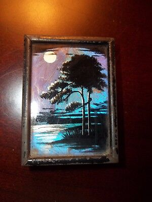 Antique Vintage Art Deco 1920s Butterfly Wing Picture Tree Moonlight Miniature