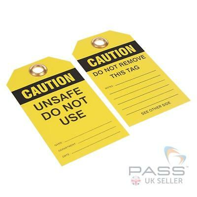 Lockout Tags - ''Caution - Unsafe Do Not Use'' - Pack of 10 - Yellow