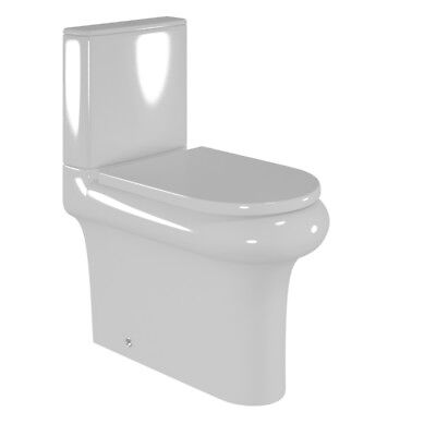 Bathroom & Cloakroom Toilet Pan Close Coupled Cistern Rimless with WC Seat
