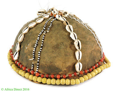 Hat Leather Cowrie Shells Congo African Art