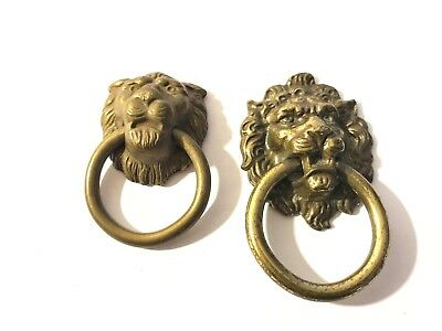 lot of 2 different Brass Lion Head Hardware Cabinet Drawer Pulls