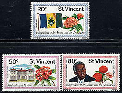 ST. VINCENT Sc #569-71 MNH 1979, Flag, flora, flowers, Independence, CL040F