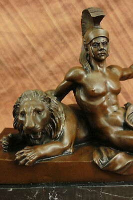Nude Roman Warrior With Lion Hot Cast Museum Quality Bronze Statue Artwork Sale