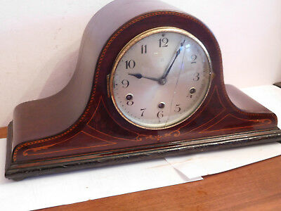 Vintage Napoleon Hat Shaped Marquetry Inlay German Wurttemberg Mantle Clock