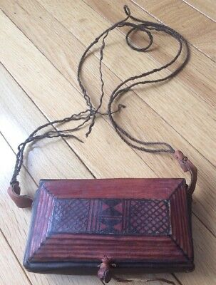 Antique Primitive Hand Made Hunting Leather Pouch, Purse, Bag Western